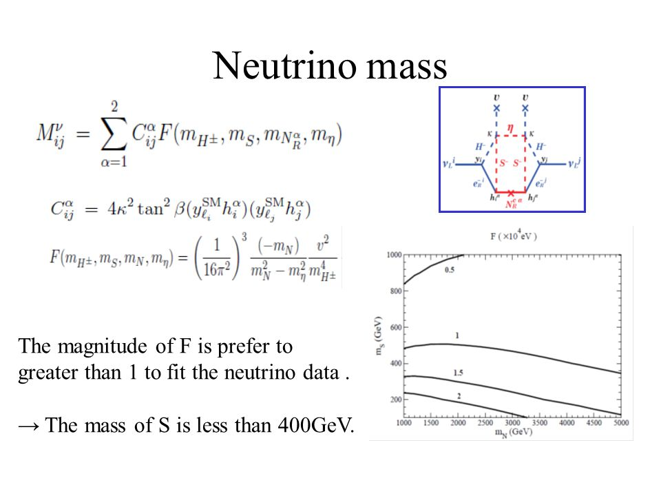 Neutrino mass The magnitude of F is prefer to greater than 1 to fit the neutrino data.
