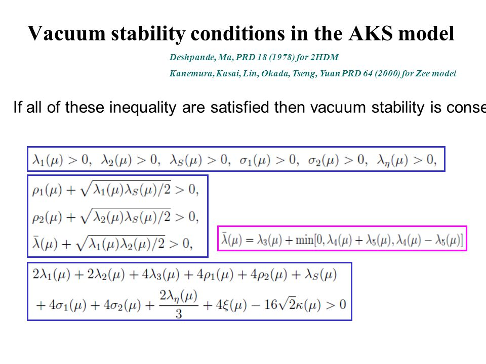 Vacuum stability conditions in the AKS model Kanemura, Kasai, Lin, Okada, Tseng, Yuan PRD 64 (2000) for Zee model Deshpande, Ma, PRD 18 (1978) for 2HDM If all of these inequality are satisfied then vacuum stability is conserved.