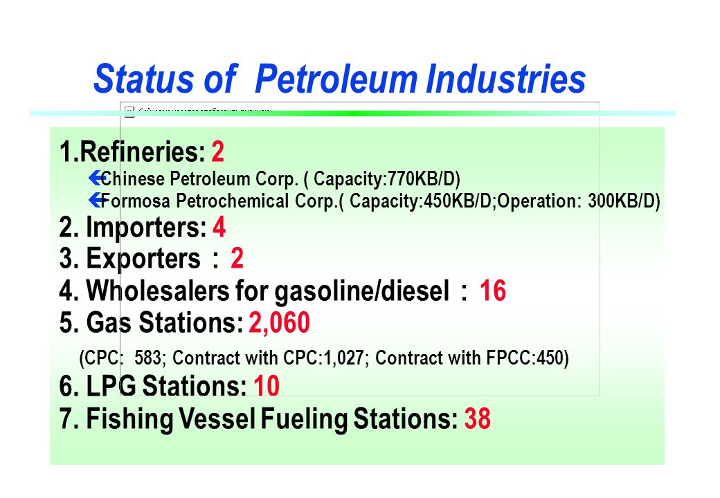 1.Refineries: 2 ç Chinese Petroleum Corp.