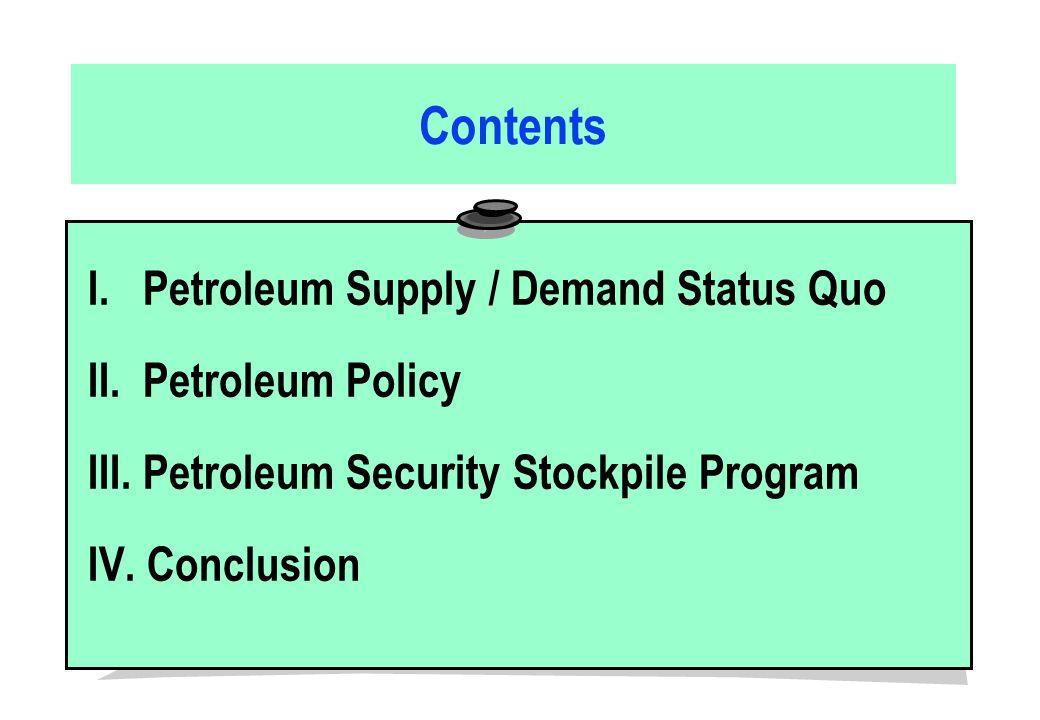 Contents I. Petroleum Supply / Demand Status Quo II.
