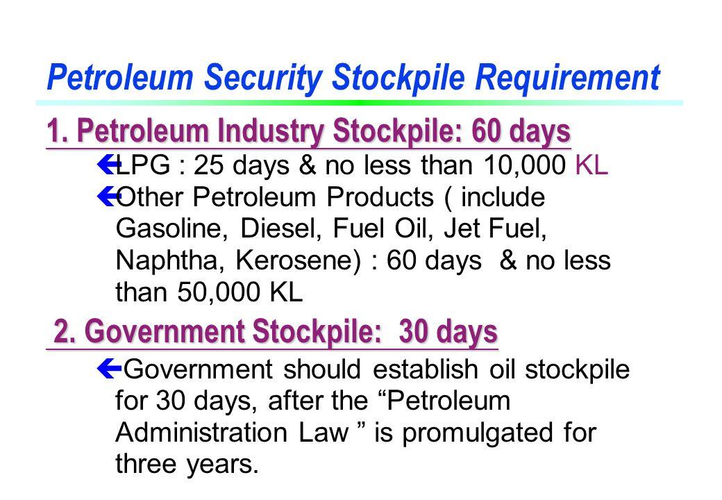 Petroleum Security Stockpile Requirement 1.