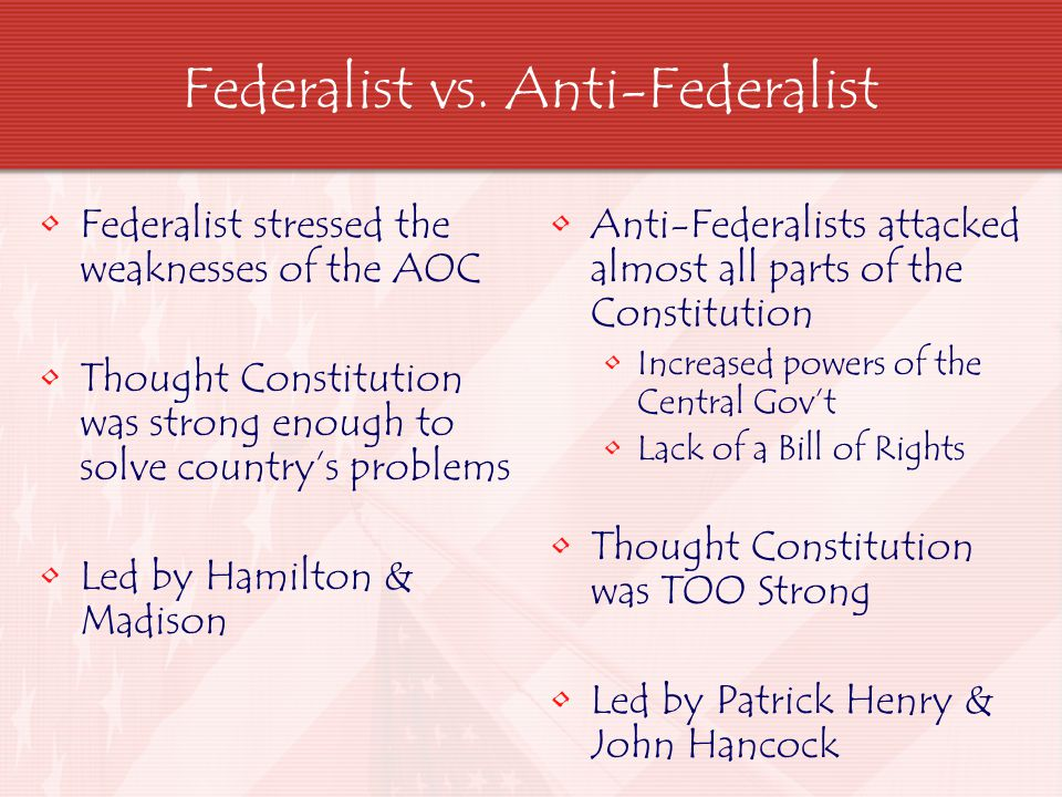 Federalist vs. Anti-Federalist Federalist stressed the weaknesses of the AOC Thought Constitution was strong enough to solve country's problems Led by