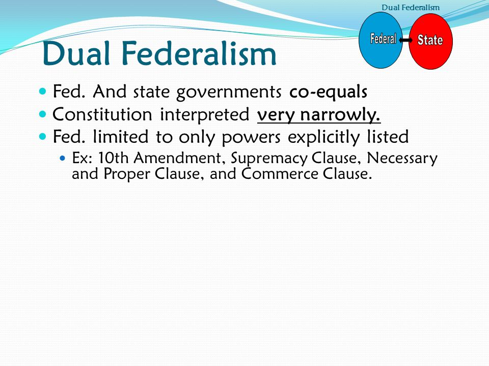 Fed.And state governments co-equals Constitution interpreted very narrowly.