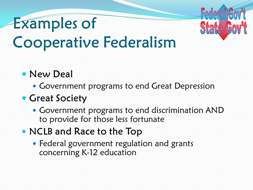 Examples of Cooperative Federalism New Deal Government programs to end Great Depression Great Society Government programs to end discrimination AND to provide for those less fortunate NCLB and Race to the Top Federal government regulation and grants concerning K-12 education