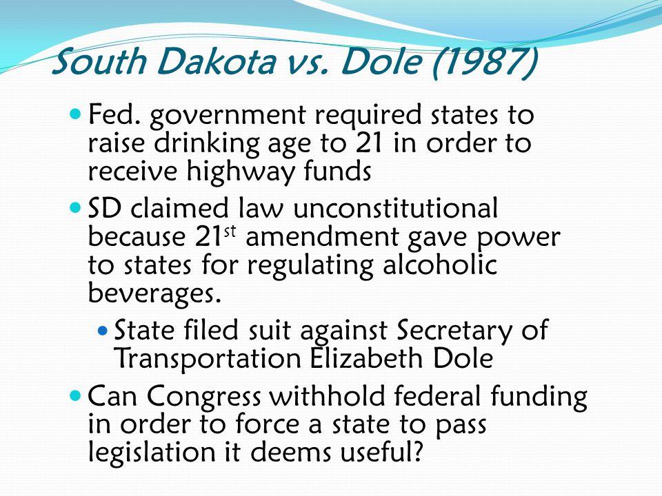 South Dakota vs.Dole (1987) Fed.
