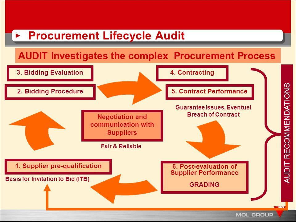 Procurement Lifecycle Audit AUDIT Investigates the complex Procurement Process 6.