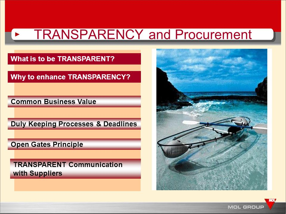 Process Transparency - We expect the same Approach.