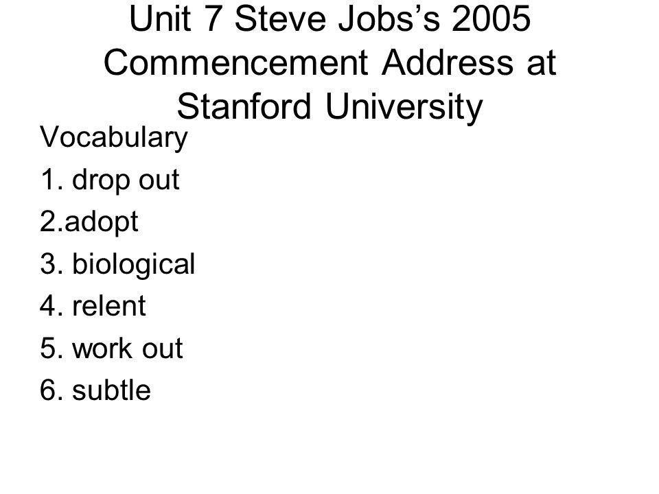 Unit 7 Steve Jobs's 2005 Commencement Address at Stanford University Vocabulary 1.