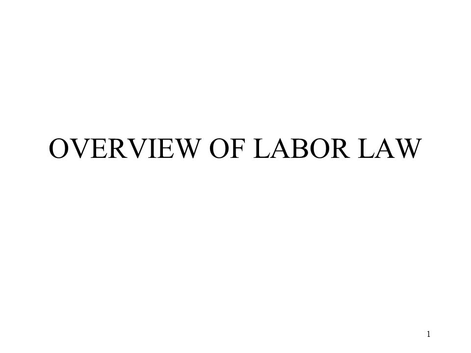 1 OVERVIEW OF LABOR LAW