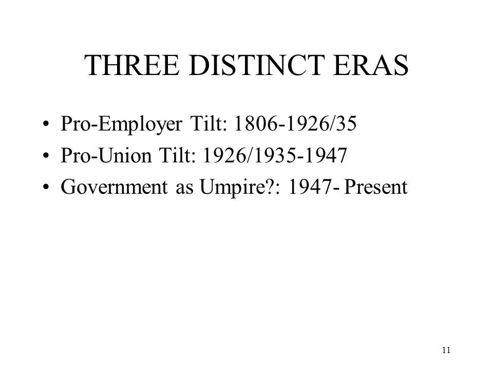 11 THREE DISTINCT ERAS Pro-Employer Tilt: 1806-1926/35 Pro-Union Tilt: 1926/1935-1947 Government as Umpire : 1947- Present