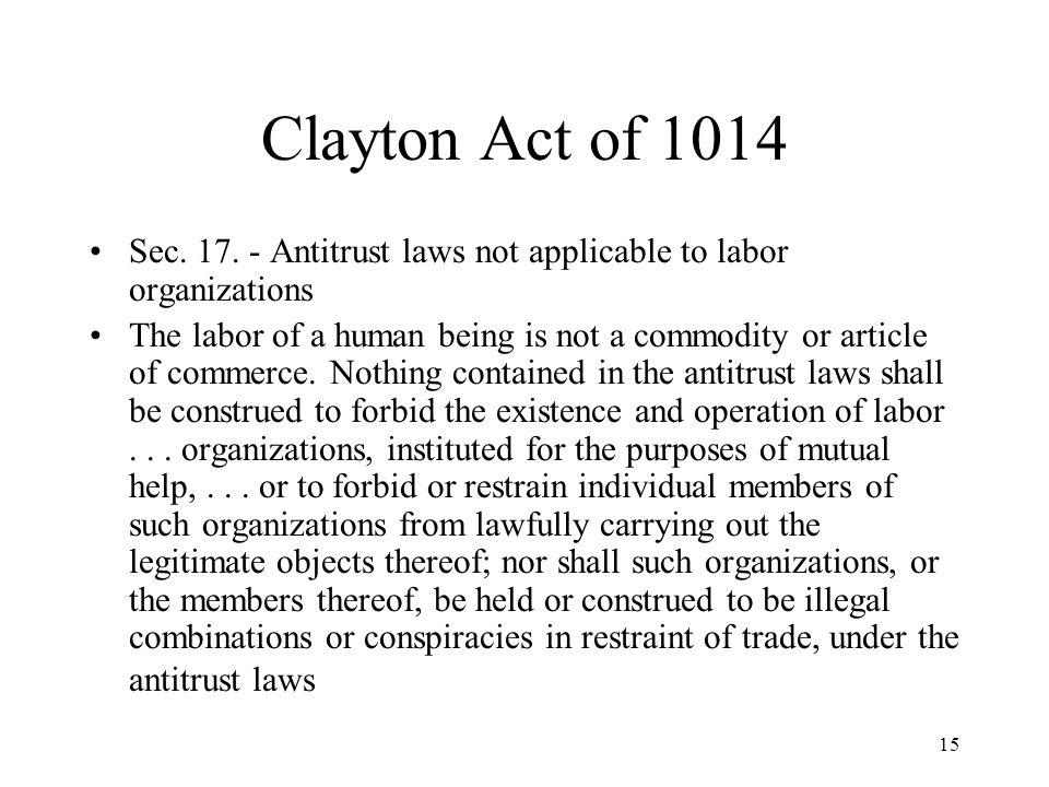 15 Clayton Act of 1014 Sec. 17.
