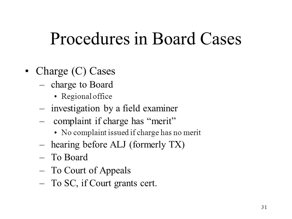 31 Procedures in Board Cases Charge (C) Cases – charge to Board Regional office – investigation by a field examiner – complaint if charge has merit No complaint issued if charge has no merit – hearing before ALJ (formerly TX) – To Board – To Court of Appeals – To SC, if Court grants cert.