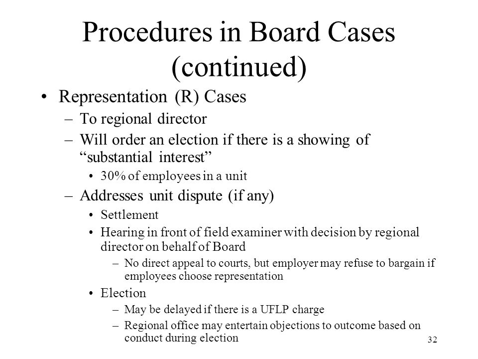 32 Procedures in Board Cases (continued) Representation (R) Cases –To regional director –Will order an election if there is a showing of substantial interest 30% of employees in a unit –Addresses unit dispute (if any) Settlement Hearing in front of field examiner with decision by regional director on behalf of Board –No direct appeal to courts, but employer may refuse to bargain if employees choose representation Election –May be delayed if there is a UFLP charge –Regional office may entertain objections to outcome based on conduct during election