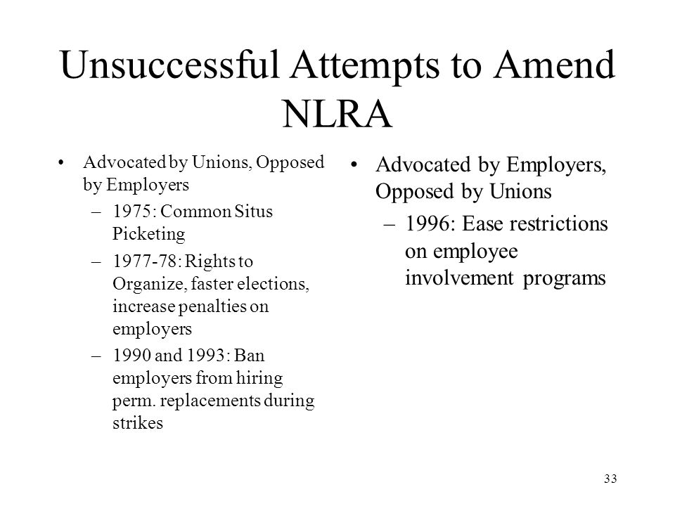 33 Unsuccessful Attempts to Amend NLRA Advocated by Unions, Opposed by Employers –1975: Common Situs Picketing –1977-78: Rights to Organize, faster elections, increase penalties on employers –1990 and 1993: Ban employers from hiring perm.