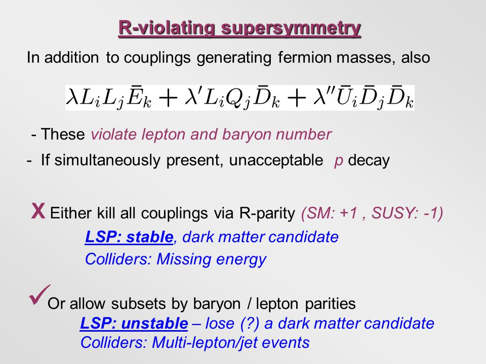 In addition to couplings generating fermion masses, also - These violate lepton and baryon number - If simultaneously present, unacceptable p decay X