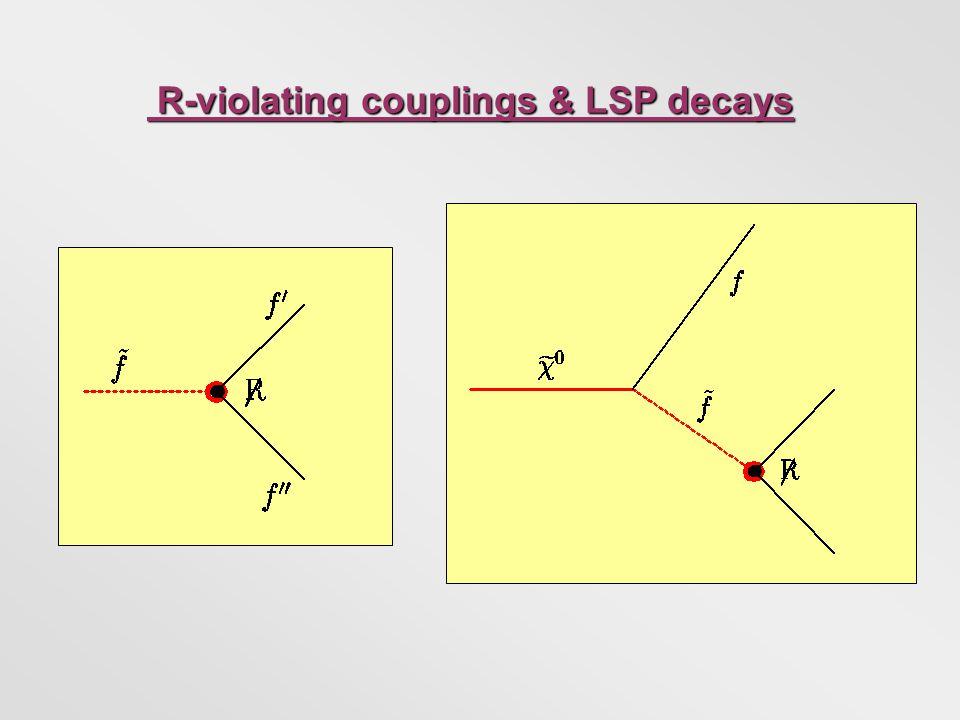 R-violating couplings & LSP decays R-violating couplings & LSP decays