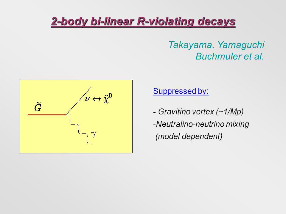 2-body bi-linear R-violating decays Takayama, Yamaguchi Buchmuler et al. Suppressed by: - Gravitino vertex (~1/Mp) -Neutralino-neutrino mixing (model