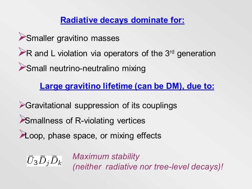 Radiative decays dominate for:  Smaller gravitino masses  R and L violation via operators of the 3 rd generation  Small neutrino-neutralino mixing