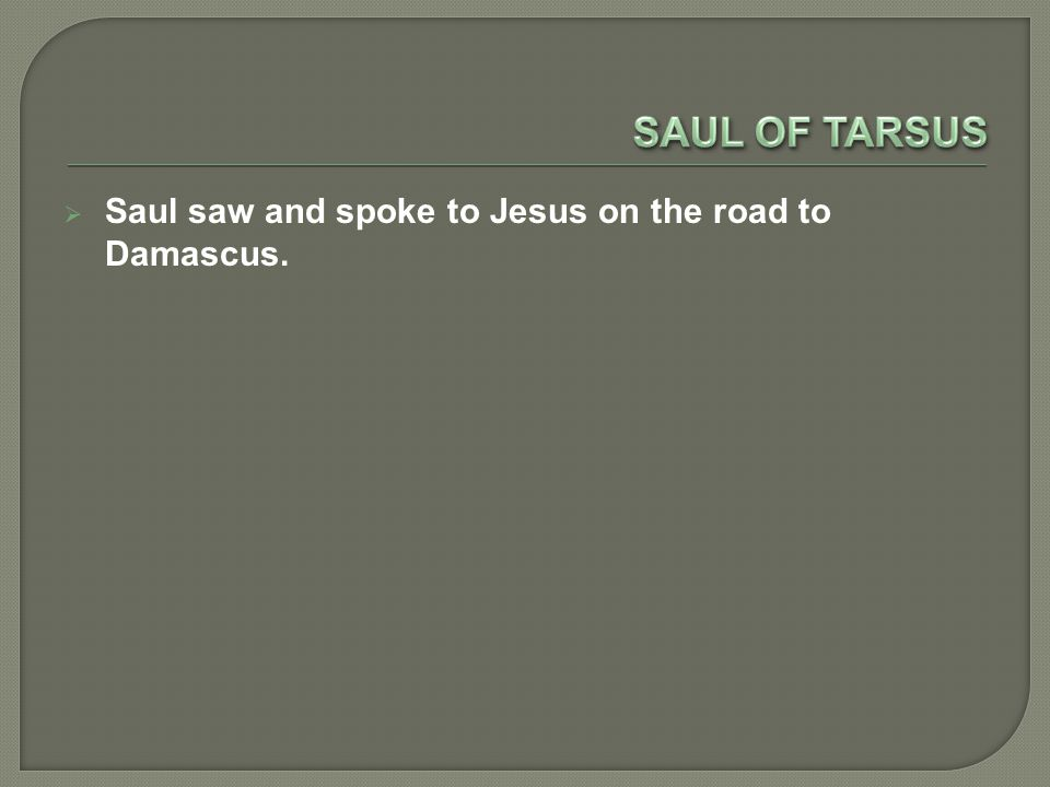 SSSSaul saw and spoke to Jesus on the road to Damascus.