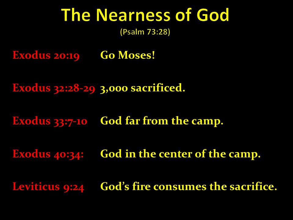Exodus 20:19Go Moses! Exodus 32:28-293,000 sacrificed. Exodus 33:7-10 God far from the camp. Exodus 40:34: God in the center of the camp. Leviticus 9: