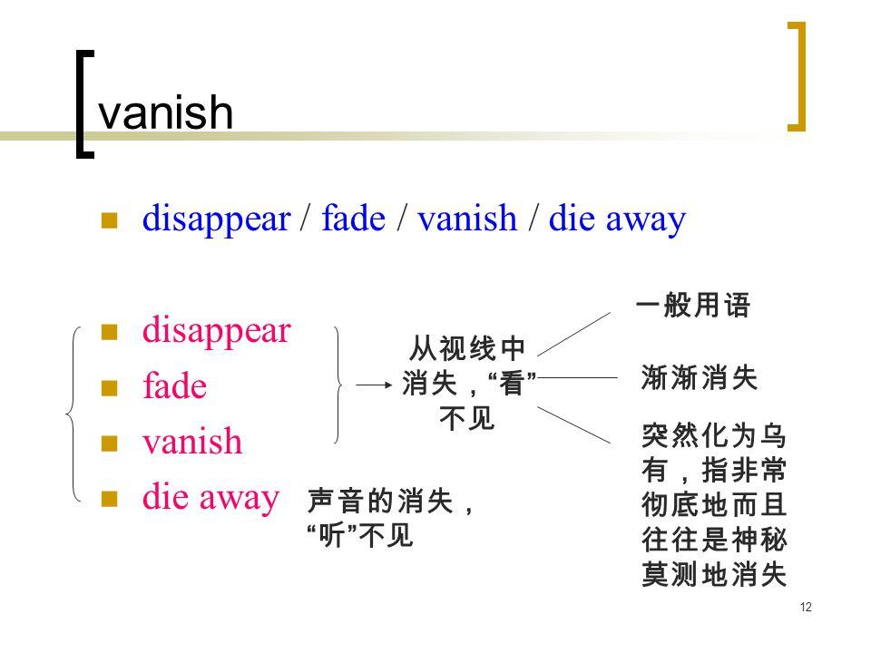12 vanish disappear / fade / vanish / die away disappear fade vanish die away 从视线中 消失, 看 不见 一般用语 渐渐消失 突然化为乌 有,指非常 彻底地而且 往往是神秘 莫测地消失 声音的消失, 听 不见