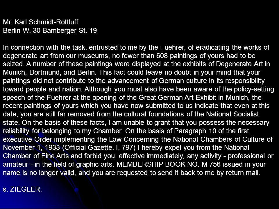 Mr. Karl Schmidt-Rottluff Berlin W. 30 Bamberger St.