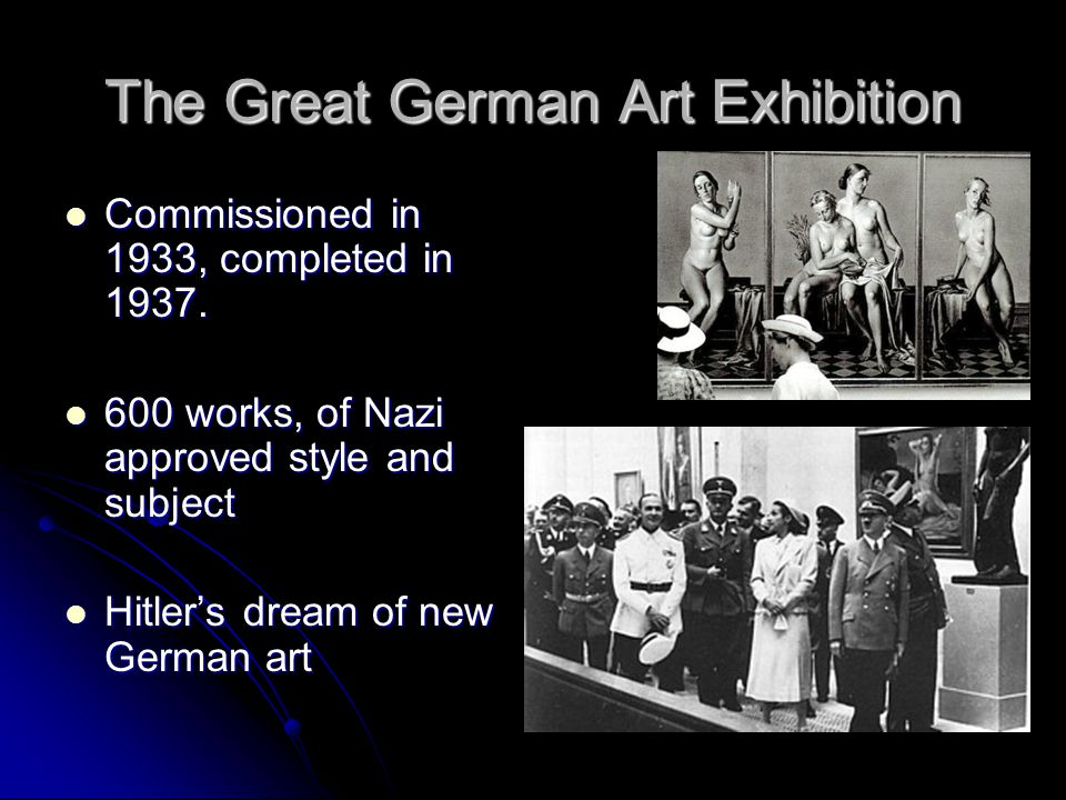 The Great German Art Exhibition Commissioned in 1933, completed in 1937.