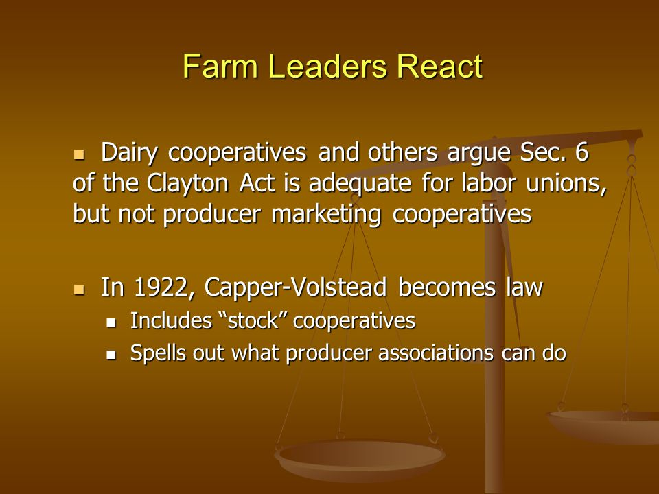 Farm Leaders React Dairy cooperatives and others argue Sec.