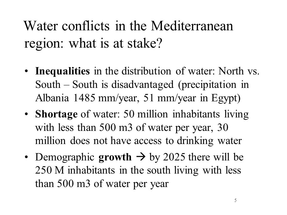 Water conflicts in the Mediterranean region: what is at stake.