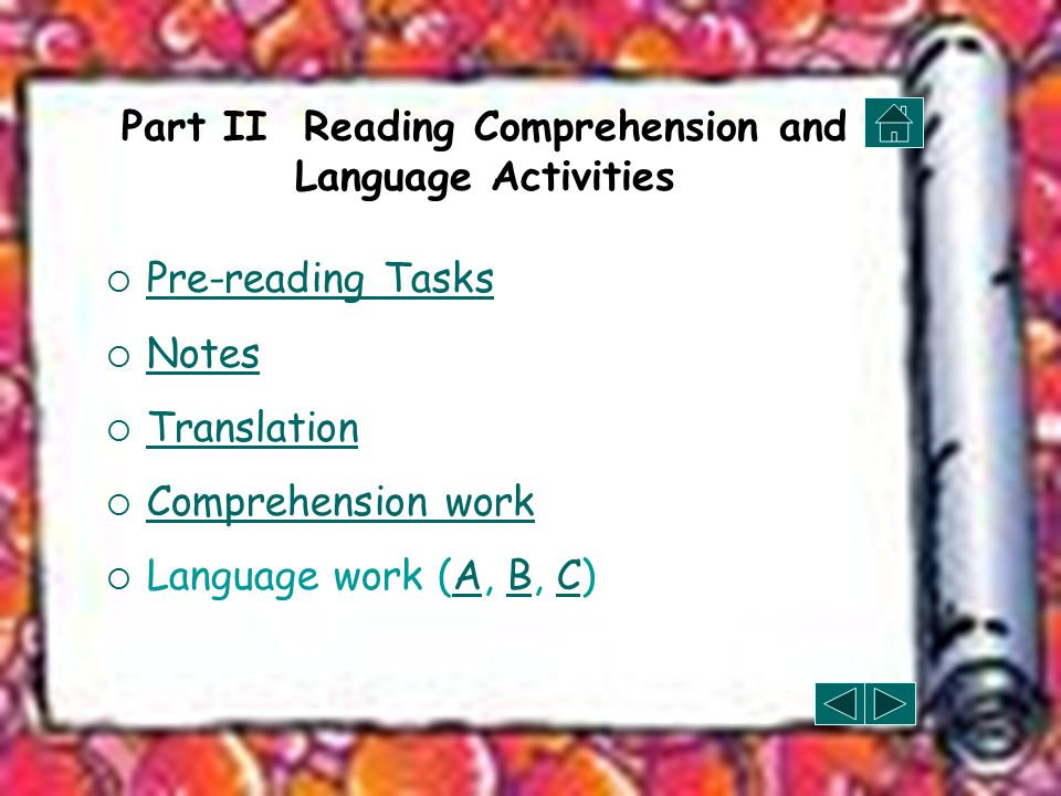 Part II Reading Comprehension and Language Activities  Pre-reading Tasks Pre-reading Tasks  Notes Notes  Translation Translation  Comprehension work Comprehension work  Language work (A, B, C)ABC