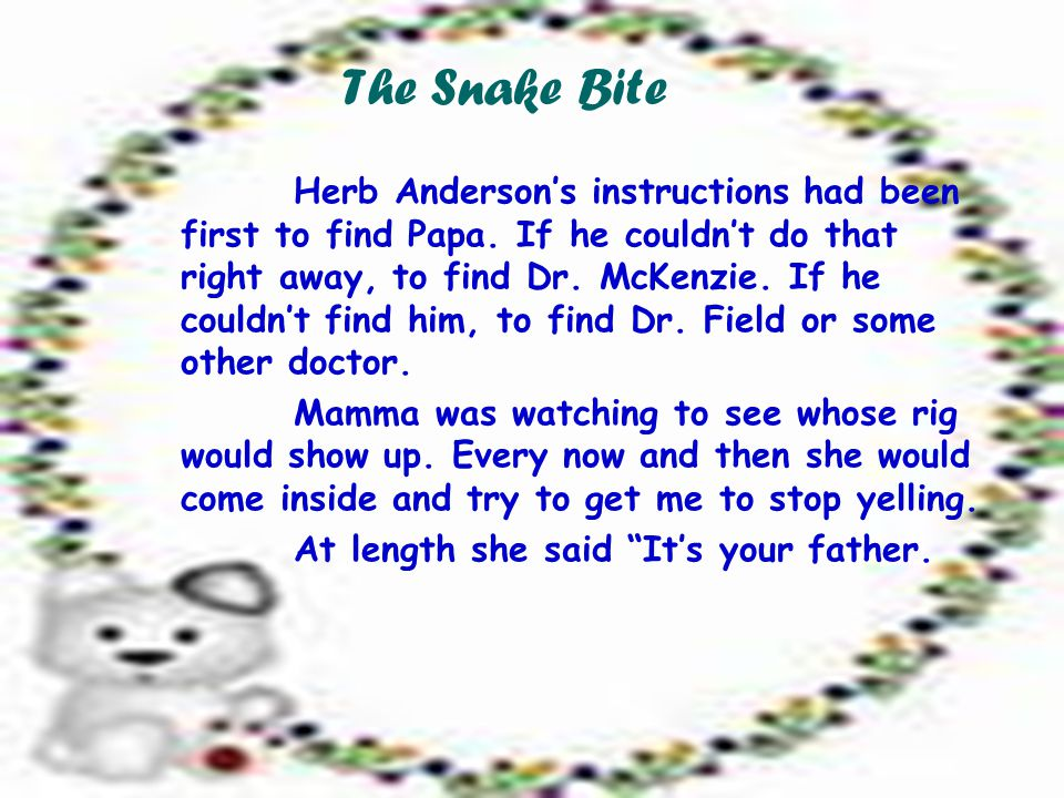 The Snake Bite Herb Anderson's instructions had been first to find Papa.