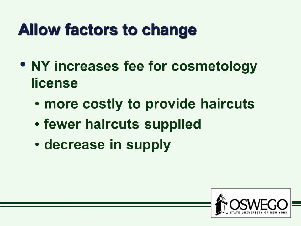 Allow factors to change NY increases fee for cosmetology license more costly to provide haircuts fewer haircuts supplied decrease in supply NY increas
