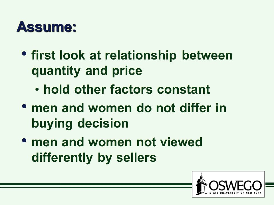 Assume:Assume: first look at relationship between quantity and price hold other factors constant men and women do not differ in buying decision men an