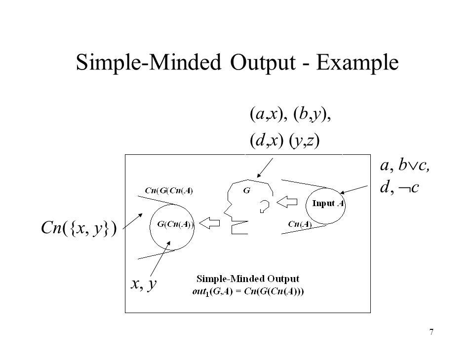 7 Simple-Minded Output - Example a, b  c, d,  c (a,x), (b,y), (d,x) (y,z) x, y Cn({x, y})