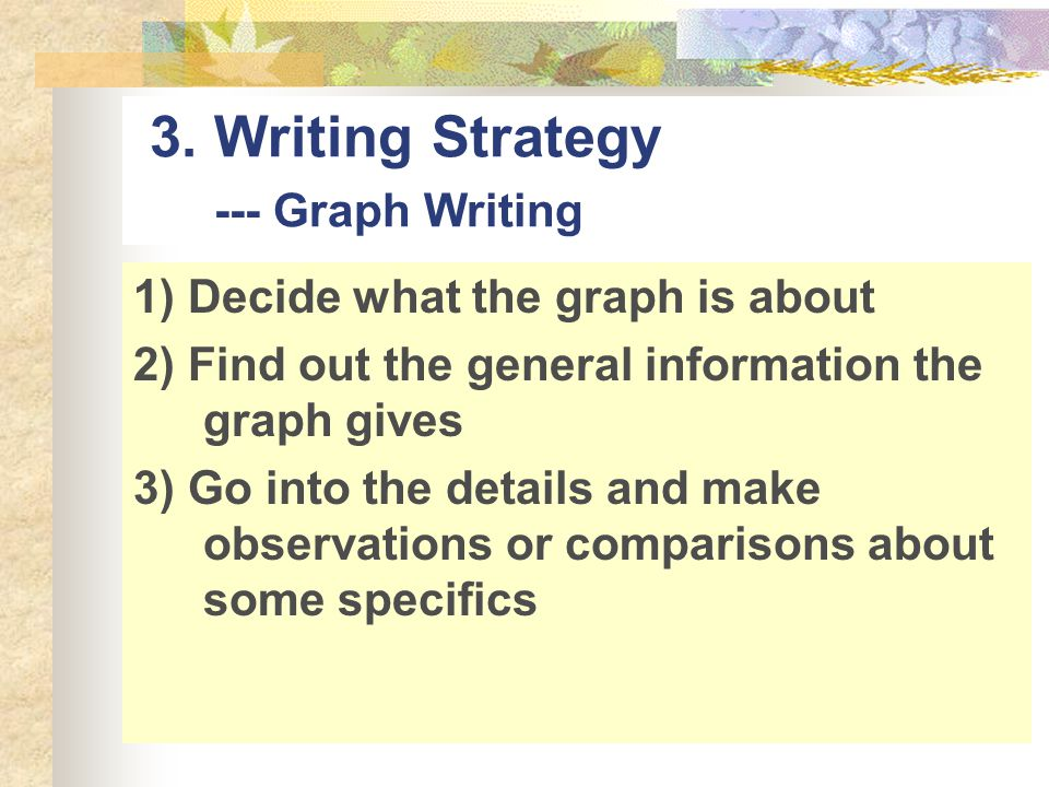 3. Writing Strategy --- Graph Writing 1) Decide what the graph is about 2) Find out the general information the graph gives 3) Go into the details and