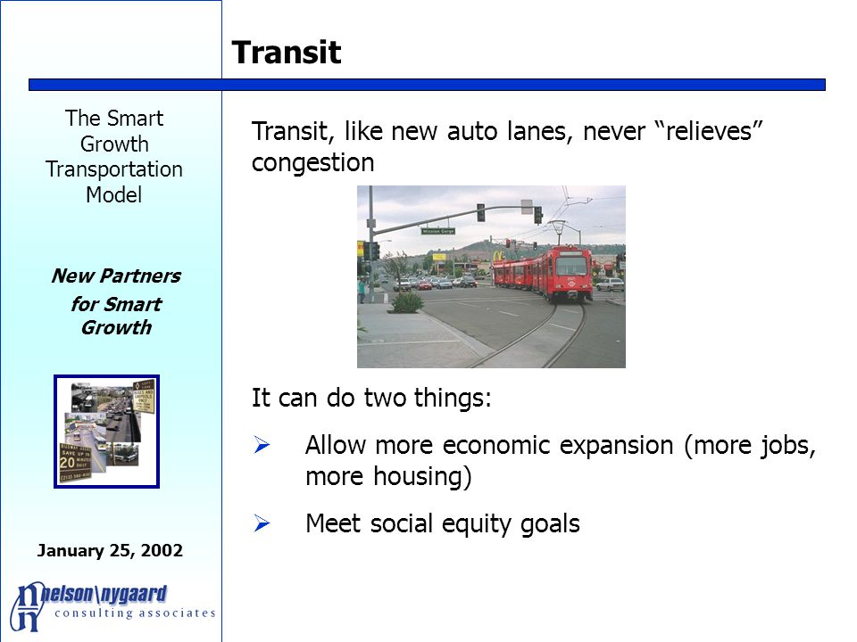 The Smart Growth Transportation Model New Partners for Smart Growth January 25, 2002 Productivity-Based Transit System Invests all transit resources into a few dense corridors, serving key markets very well.