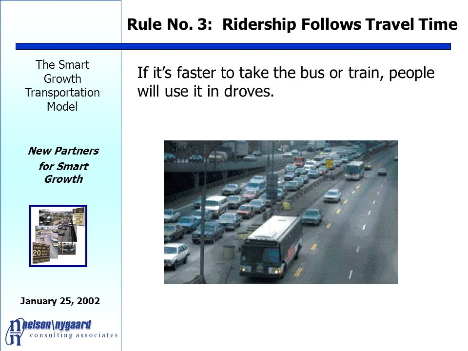 The Smart Growth Transportation Model New Partners for Smart Growth January 25, 2002 If you want continued economic growth, you must invest in fast, efficient transit.