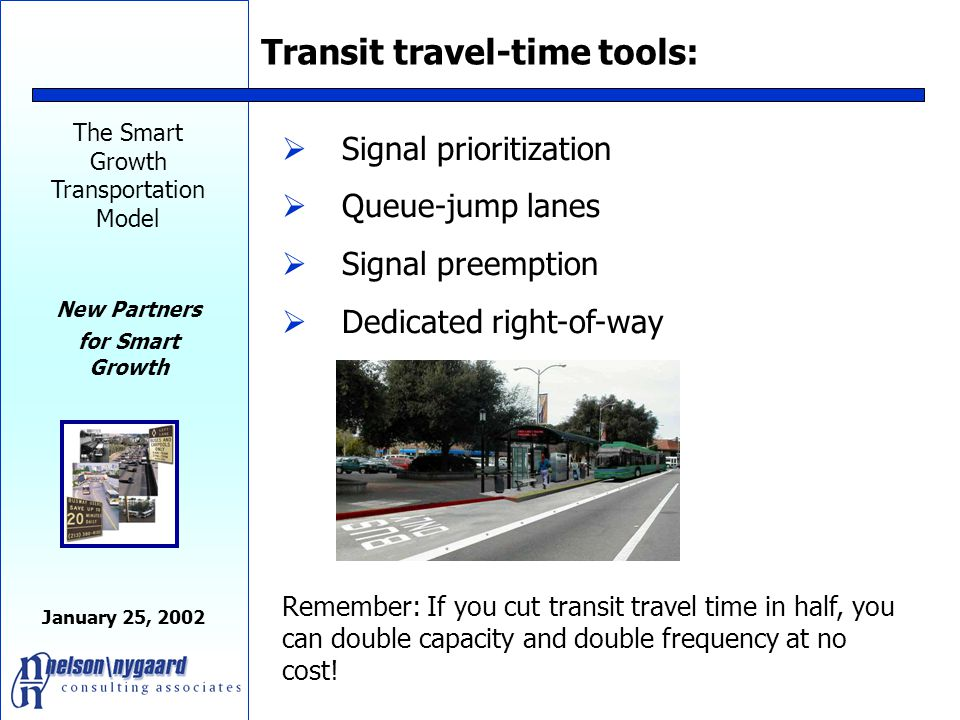 The Smart Growth Transportation Model New Partners for Smart Growth January 25, 2002 Los Angeles Metro Rapid 25% + Speed Increase and Growth Ridership 1/3 of Ridership Increase is NEW riders!
