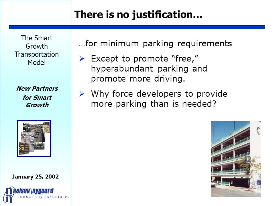 The Smart Growth Transportation Model New Partners for Smart Growth January 25, 2002 Minimum Parking Requirements Minimum parking requirements are a major obstacle to affordable housing in cities Each parking space:  Adds 20-25% to the cost of building a unit  Reduces the number of units produced by 20-25%