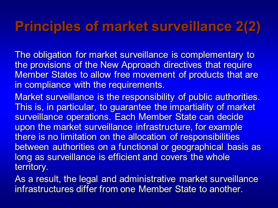 Market surveillance activities 1(2) Market surveillance involves two main stages:  National surveillance authorities shall monitor that products placed on the market comply with the provisions of the applicable national legislation transposing the NADs.