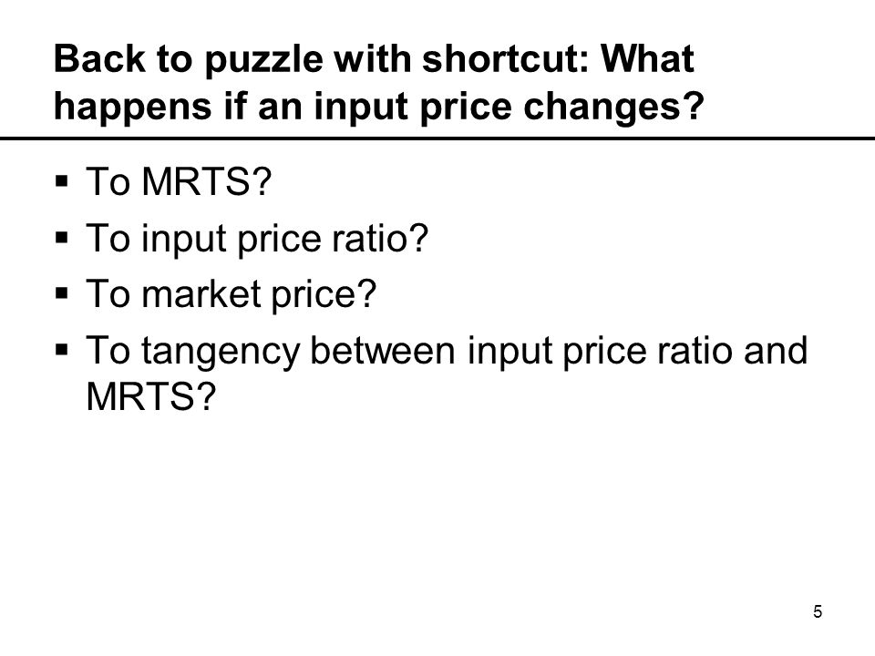5 Back to puzzle with shortcut: What happens if an input price changes.