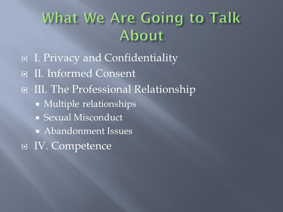  I.Privacy and Confidentiality  II. Informed Consent  III.