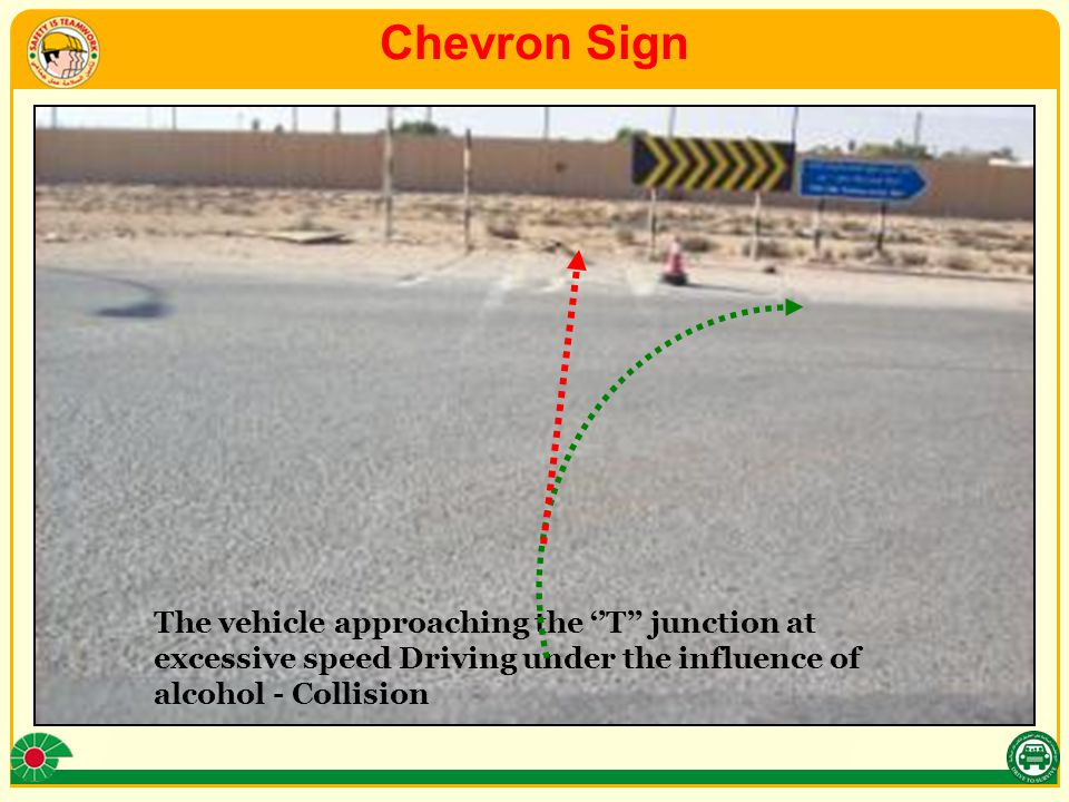 Chevron Sign The vehicle approaching the ''T'' junction at excessive speed Driving under the influence of alcohol - Collision