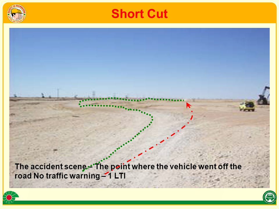 Short Cut The accident scene – The point where the vehicle went off the road No traffic warning – 1 LTI