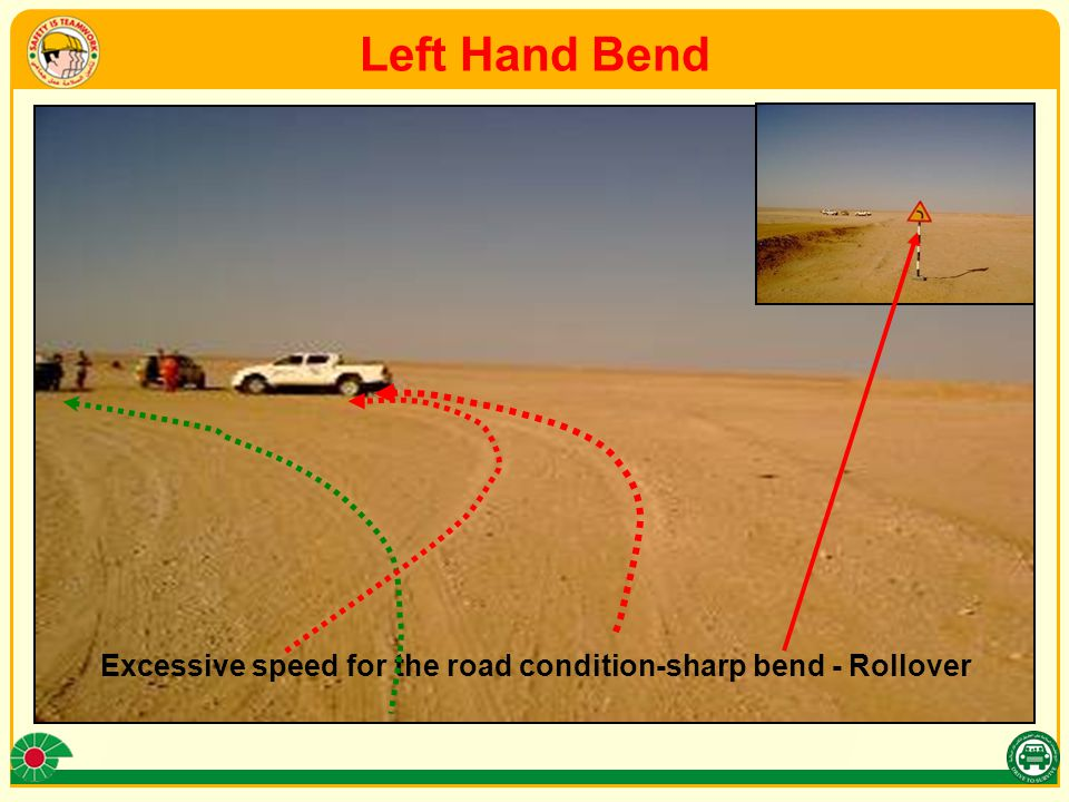 Left Hand Bend Excessive speed for the road condition-sharp bend - Rollover