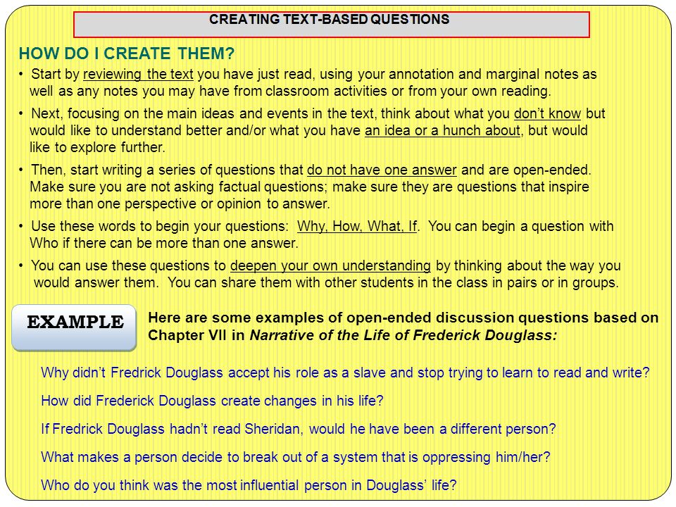 When discussing a text/topic or when preparing to write an essay, beginning with a question has several advantages: WHAT ARE QUESTIONING CIRCLES.