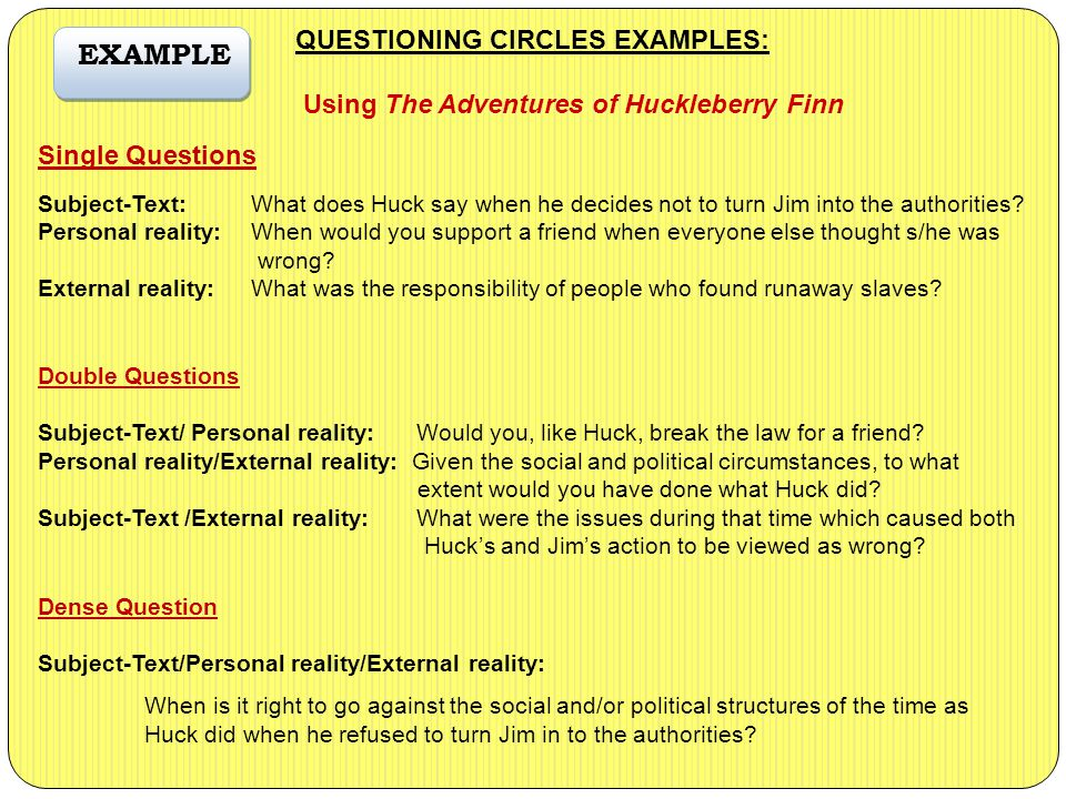 QUESTIONING CIRCLES EXAMPLES: Using The Adventures of Huckleberry Finn Single Questions Subject-Text:What does Huck say when he decides not to turn Jim into the authorities.