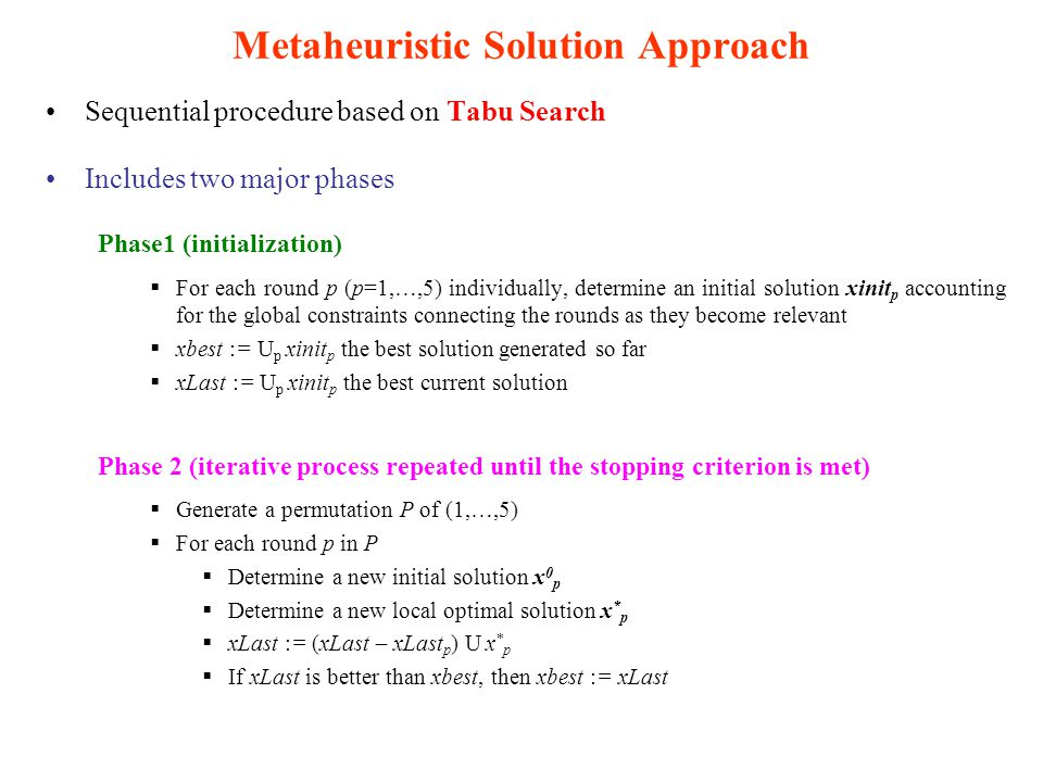 Metaheuristic Solution Approach Sequential procedure based on Tabu Search Includes two major phases Phase1 (initialization)  For each round p (p=1,…,5) individually, determine an initial solution xinit p accounting for the global constraints connecting the rounds as they become relevant  xbest := U p xinit p the best solution generated so far  xLast := U p xinit p the best current solution Phase 2 (iterative process repeated until the stopping criterion is met)  Generate a permutation P of (1,…,5)  For each round p in P  Determine a new initial solution x 0 p  Determine a new local optimal solution x * p  xLast := (xLast – xLast p ) U x * p  If xLast is better than xbest, then xbest := xLast