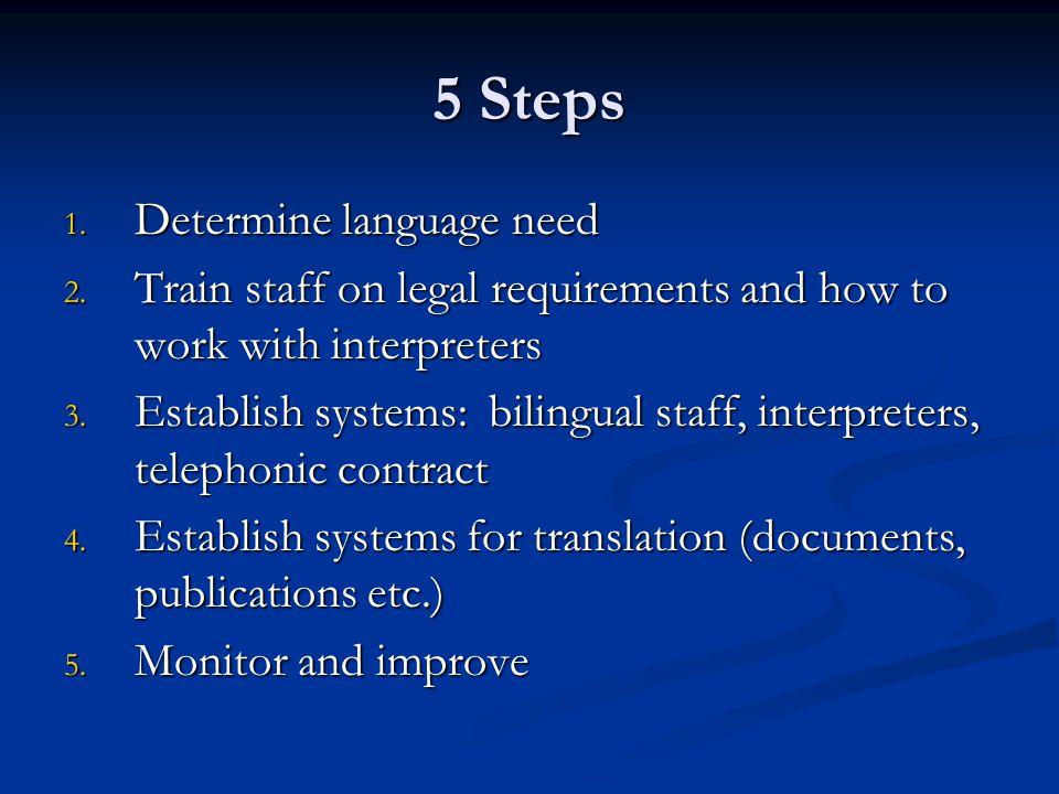 5 Steps 1. Determine language need 2.