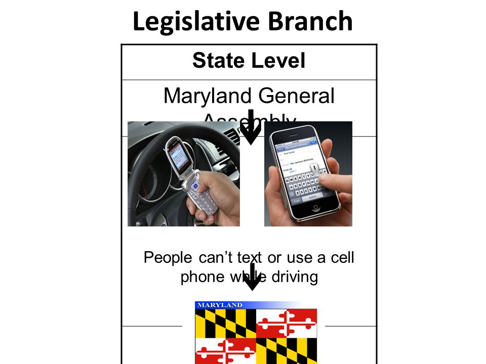Legislative Branch State Level Maryland General Assembly People can't text or use a cell phone while driving